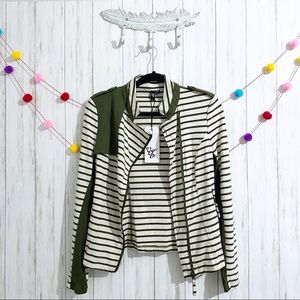 Vero Moda stripe knit moto zip up jacket.